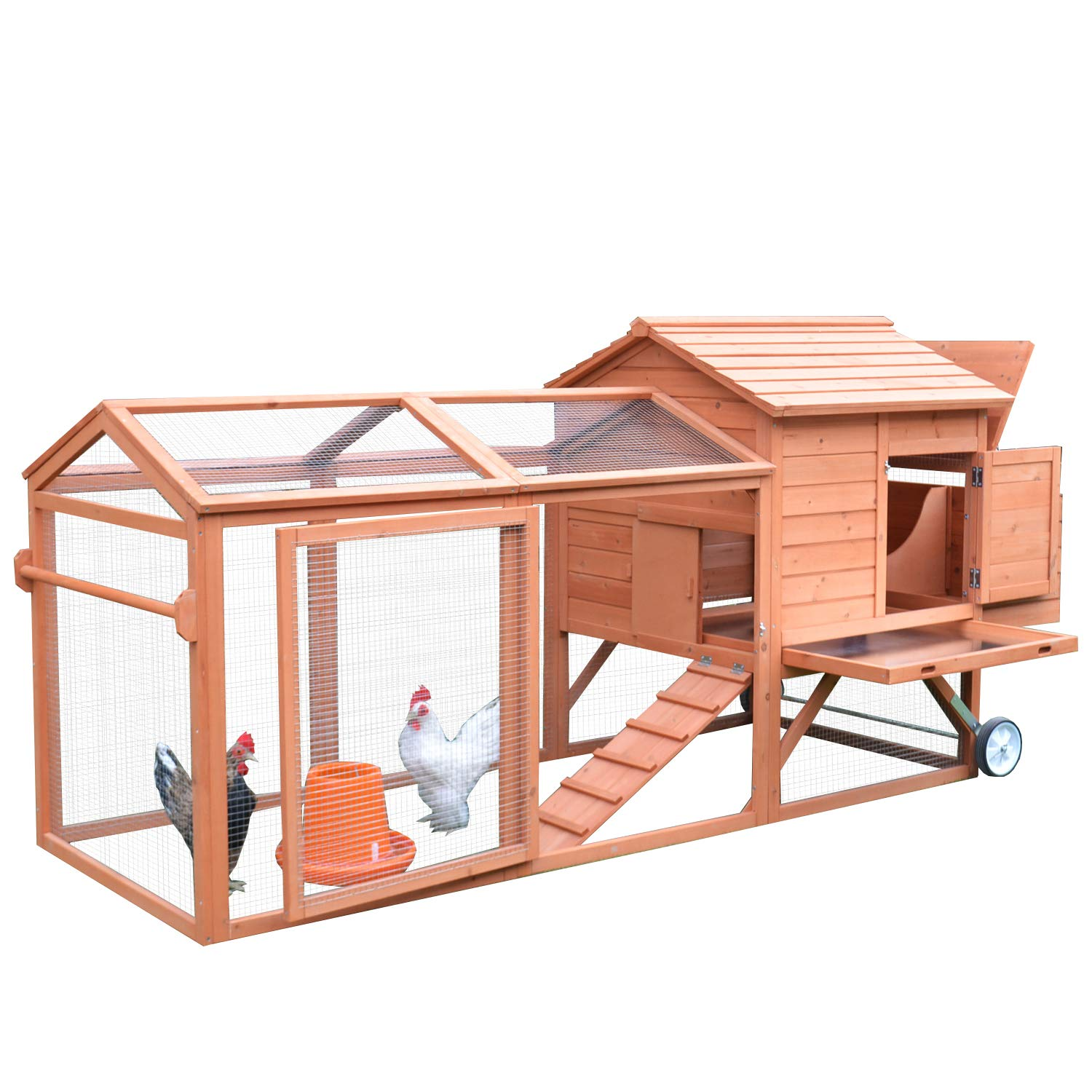 PawHut 98'' Portable Wooden Chicken Coop with Wheels Outdoor Run and Nesting Box by PawHut