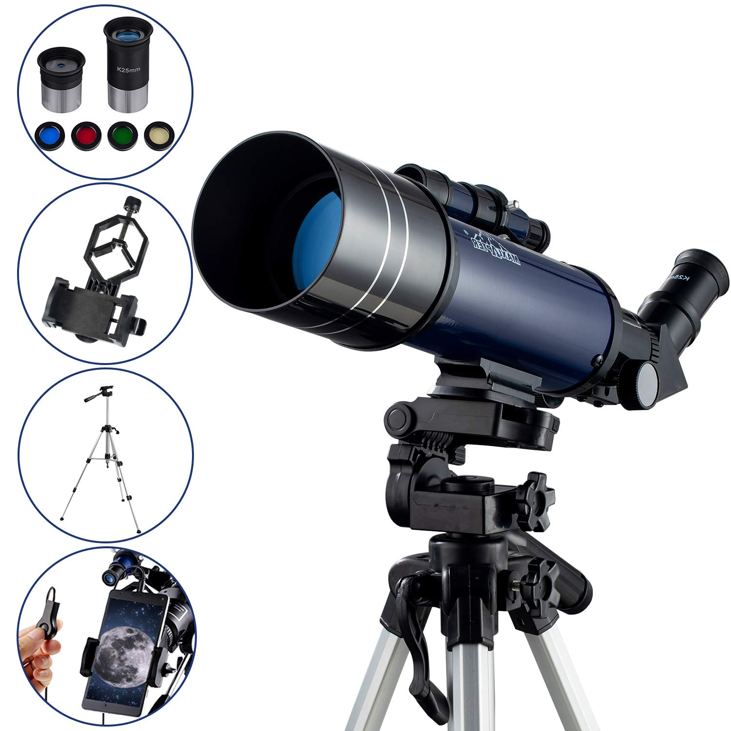Refractor Astronomy Telescope for Kids Starter Teens, Dual-Use with Standard Tripod Smartphone Adapter Case Wired Shutter Accessories, 400/70mm Basic Travel Scope MAXLAPTER