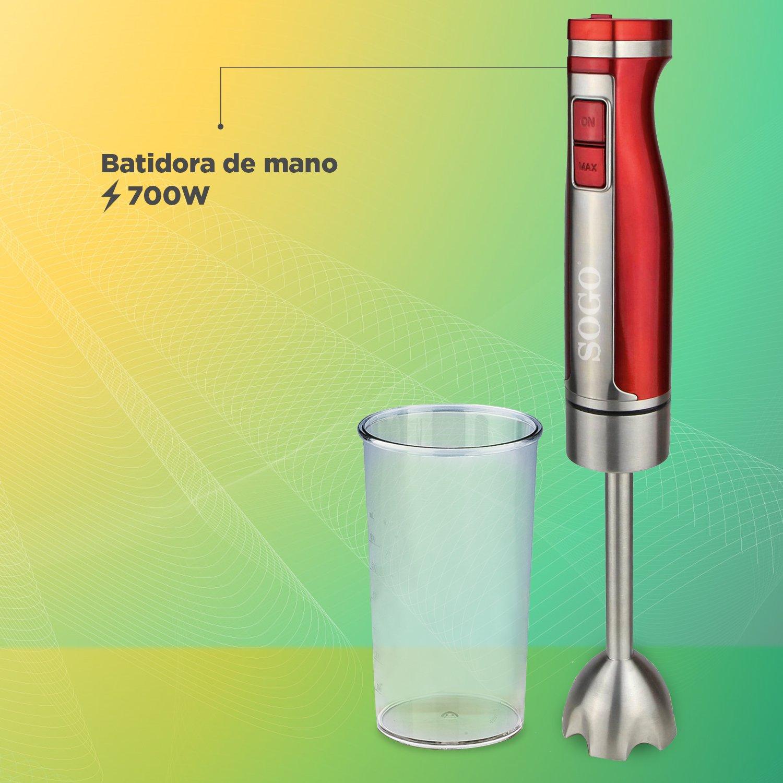 Sogo BAT-SS-14440 - Batidora de mano, 1100W, incluye vaso de 600ml, Rojo: Amazon.es: Hogar