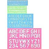 Shappy 4 Pieces Letter Stencil Alphabet Stencils Number Craft Ruler Decorative Plastic Letter Stencils Guides Set, Assorted Colors