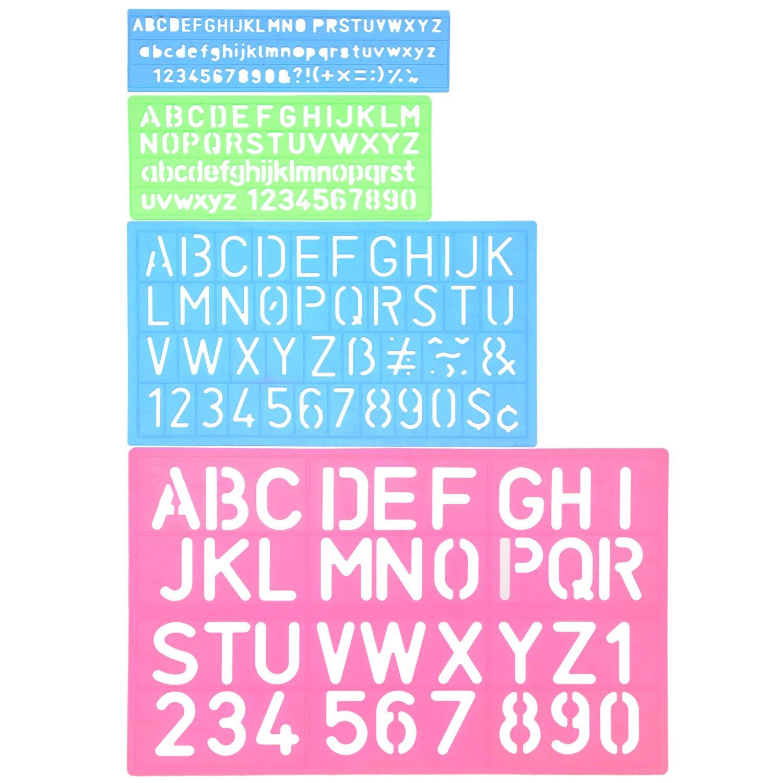 Shappy 4 Pieces Letter Stencil Alphabet Stencils Number Craft Ruler ...