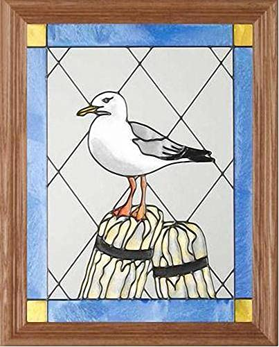 Seagull Vertical Art Glass Panel with Wooden Frame 16 x 13