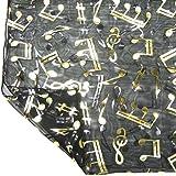 Black Chiffon Feel Gold Musical Note Print Fashion Neck Scarf Tie Head Wrap