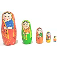Crafts India Hand Crafted and Painted Indian Lady Stacking Toy 5 pcs - Multi Color - 14 cms