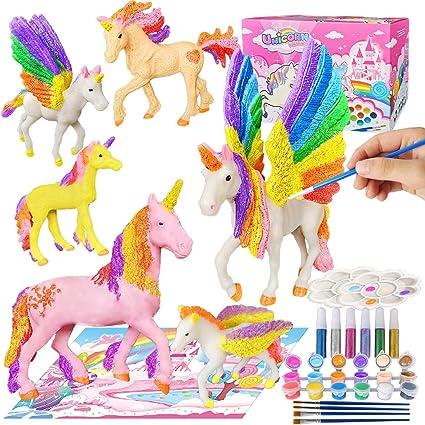 SUNACE Juego de Arte Manualidades para Ni/ños Regalos para Ni/ñas Unicornios y Kit de Pintura con Pinceles Colores Tapete Unicornio para Pintar Regalo de Cumplea/ños y de Navidad para Ni/ños y Ni/ñas