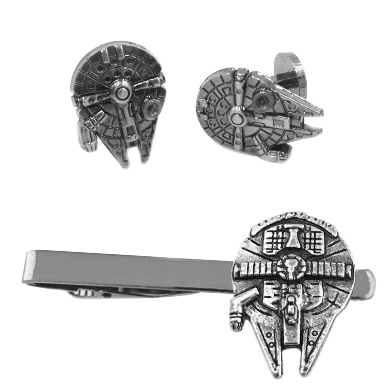 Outlander Millenium Falcon Cufflink & Tiebar - New 2018 Star Wars Movies - Set of 2 Wedding Logo w/Gift Box