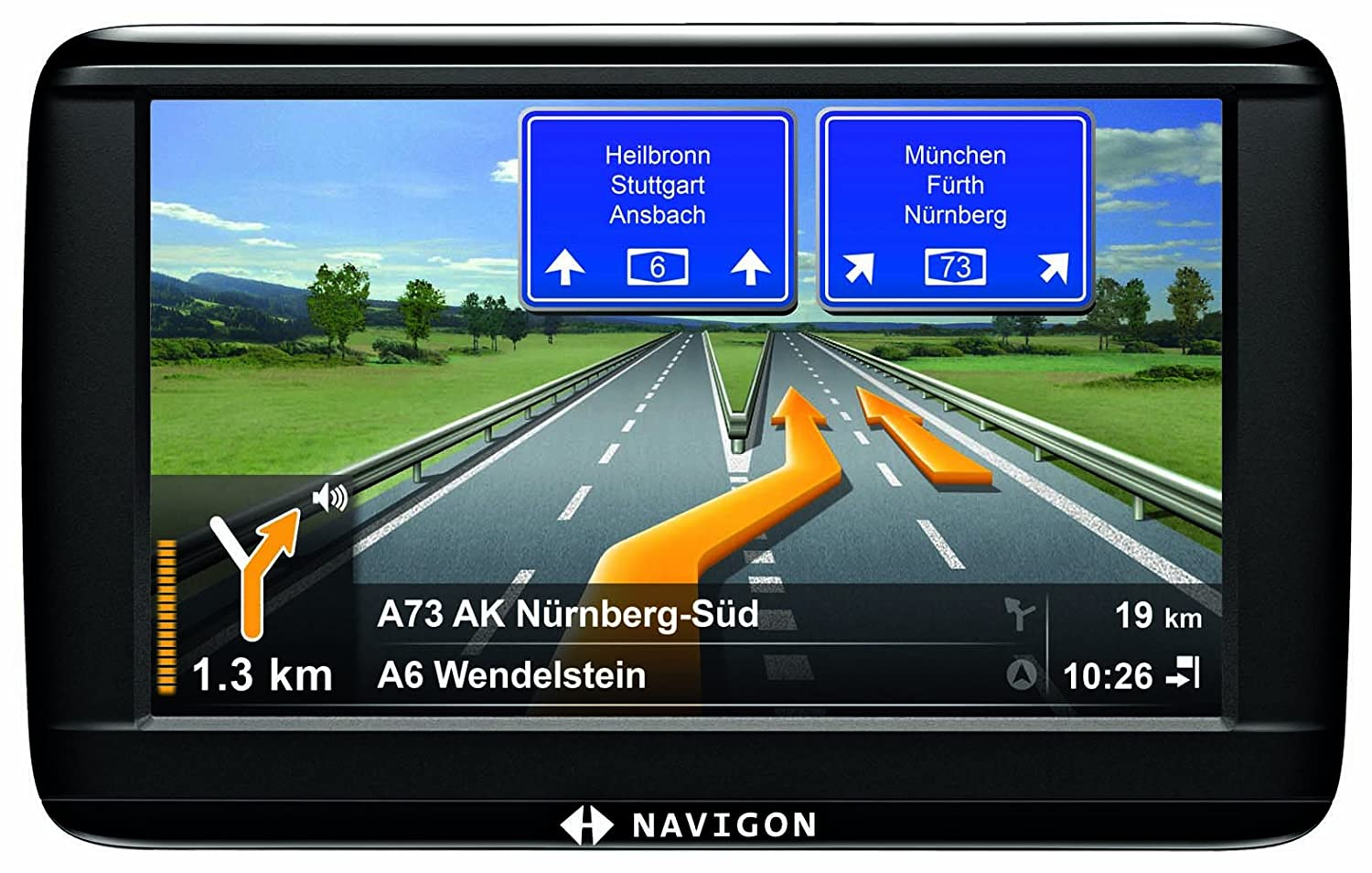 NAVIGON 42 Plus Navigationssystem (10,9cm (4,3 Zoll) Display, Europa 44, TMC, NAVIGON Flow, Text-to-Speech, Aktiver Fahrspurassistent) Navigon AG B10020076