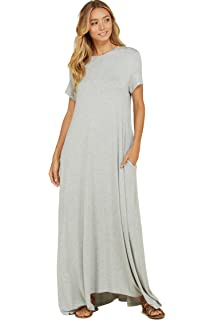 55bf49628f Annabelle Women s Comfy Short Sleeve Loose Fit Round Neck Casual Maxi  Dresses Pockets