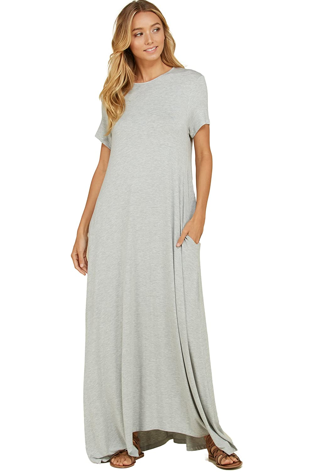 4965a221950344 Annabelle Women s Round Neck Short Sleeve Uneven Hem Casual Jersey Maxi  Dress with Side Pockets at Amazon Women s Clothing store