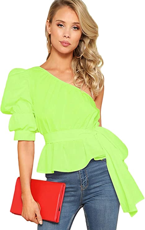 80s Tops, Shirts, T-shirts, Blouse Romwe Womens One Shoulder Short Puff Sleeve Self Belted Solid Blouse Top $20.99 AT vintagedancer.com