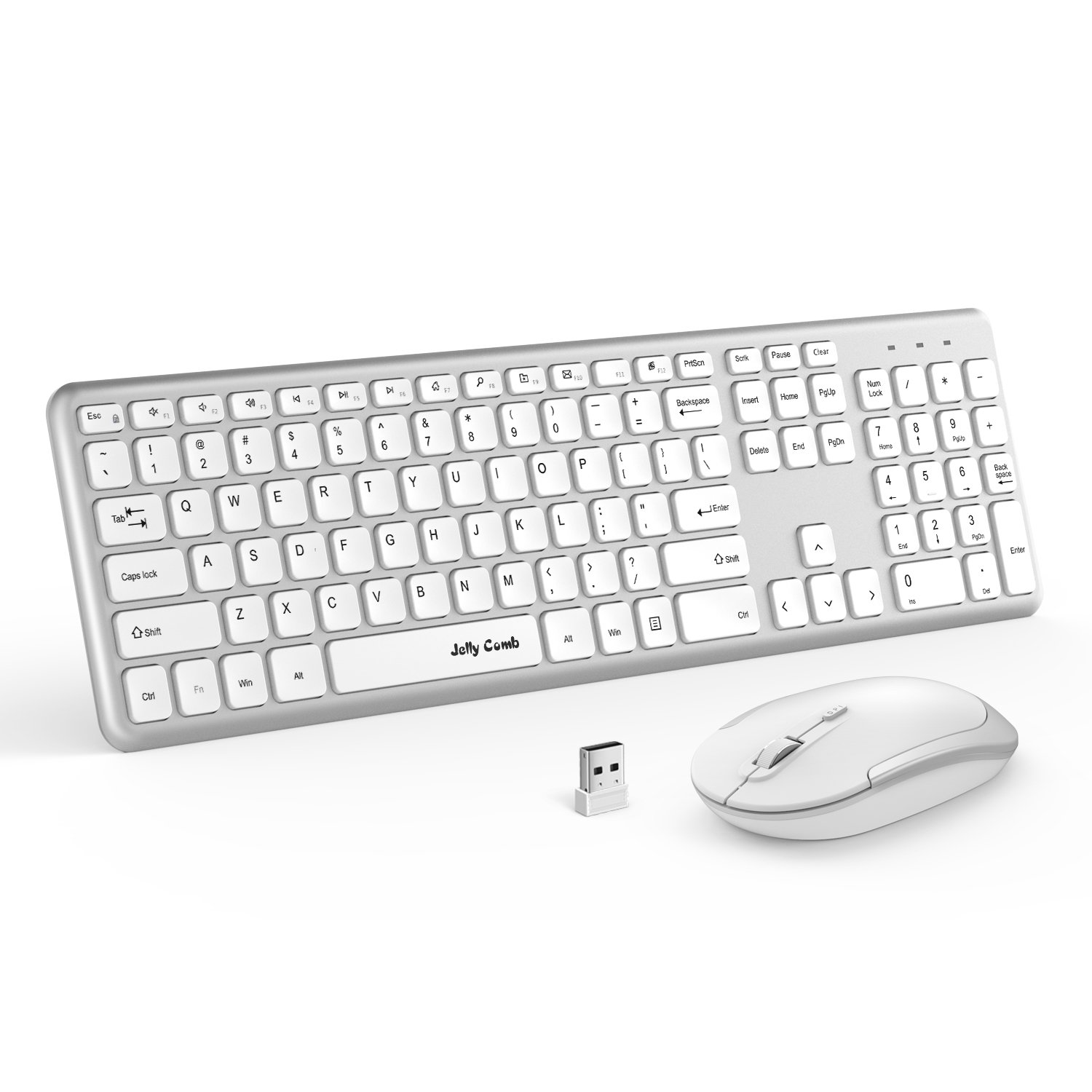 Wireless Keyboard Mouse, Jelly Comb 2.4GHz Ultra Thin Full Size Wireless Keyboard and Mouse Combo Set with Number Pad for Computer, Laptop, PC, Desktop, Notebook, Windows (Full Size - White + Silver)