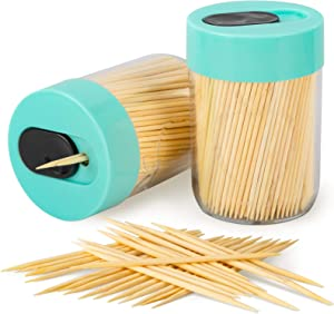Urbanstrive Sturdy Safe Toothpick Holder with 400 Natural Wood Toothpicks for Teeth Cleaning, Unique Home Design Decoration, Unusual Gift, 2 Pack (Light Blue)