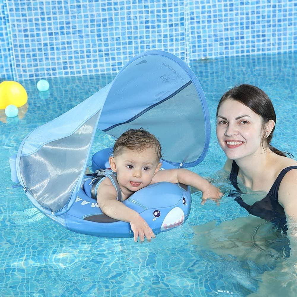 DDT Flotador Bebé Piscina, Anillo De Natación para Bebé Flotador De Natación con Asiento Respaldo Techo Ajustable,para Niños Al Piscina Y Playa En Verano (Azul),Azul