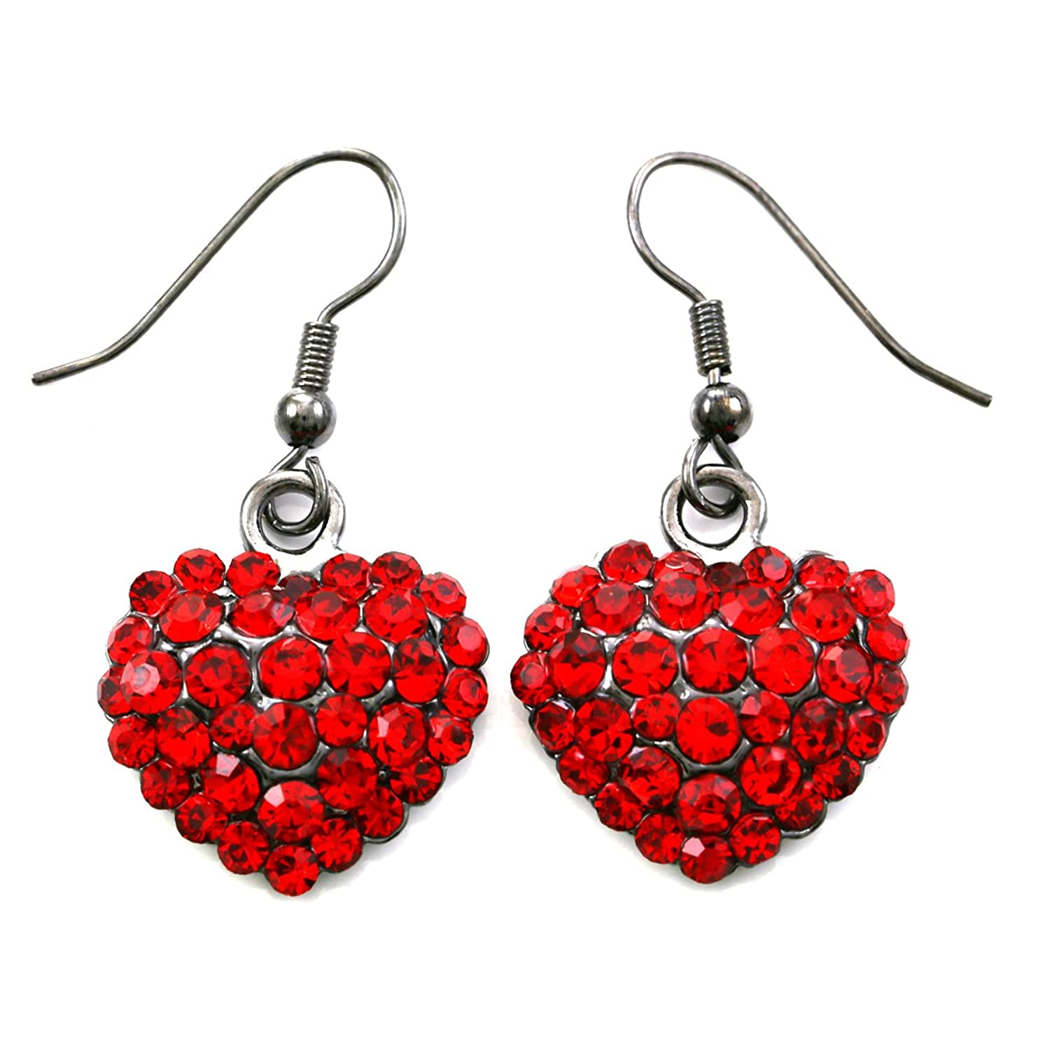 Amazon: Valentine's Day Red Heart Earrings Love Be Mine Dangle Hook  Style Red Paved Rhinestone Fashion Jewelry: Jewelry