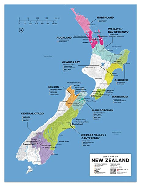 Map Of Cromwell New Zealand.Amazon Com Wine Folly New Zealand Wine Map Poster Print 12 X 16