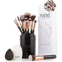 Niré Beauty Set de Brochas de Maquillaje Profesional de 15 Piezas : Brochas y Pinceles de Maquillaje, Estuche, Esponja…