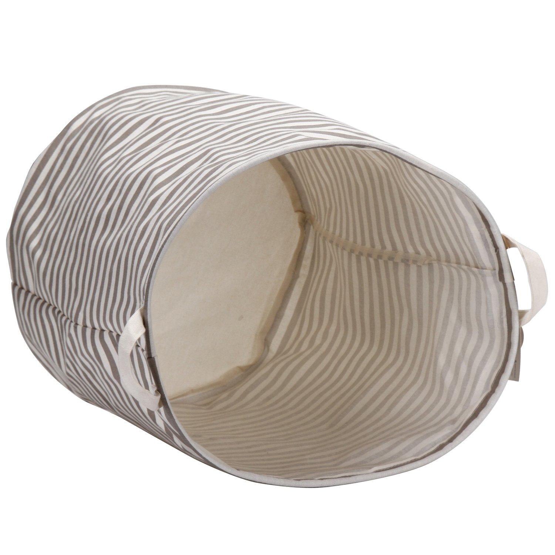 Sea Team Waterproof Coating Ramie Cotton Fabric Folding Laundry Hamper Storage Basket,L