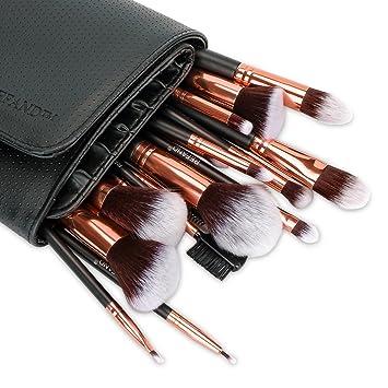 fbec0a484ae Amazon.com: Refand Makeup Brushes, Face Brushes Cosmetics Foundation Powder  Concealers Blending Eye Shadows Make Brushes Kit with Pu Leather Storage  Bag ...