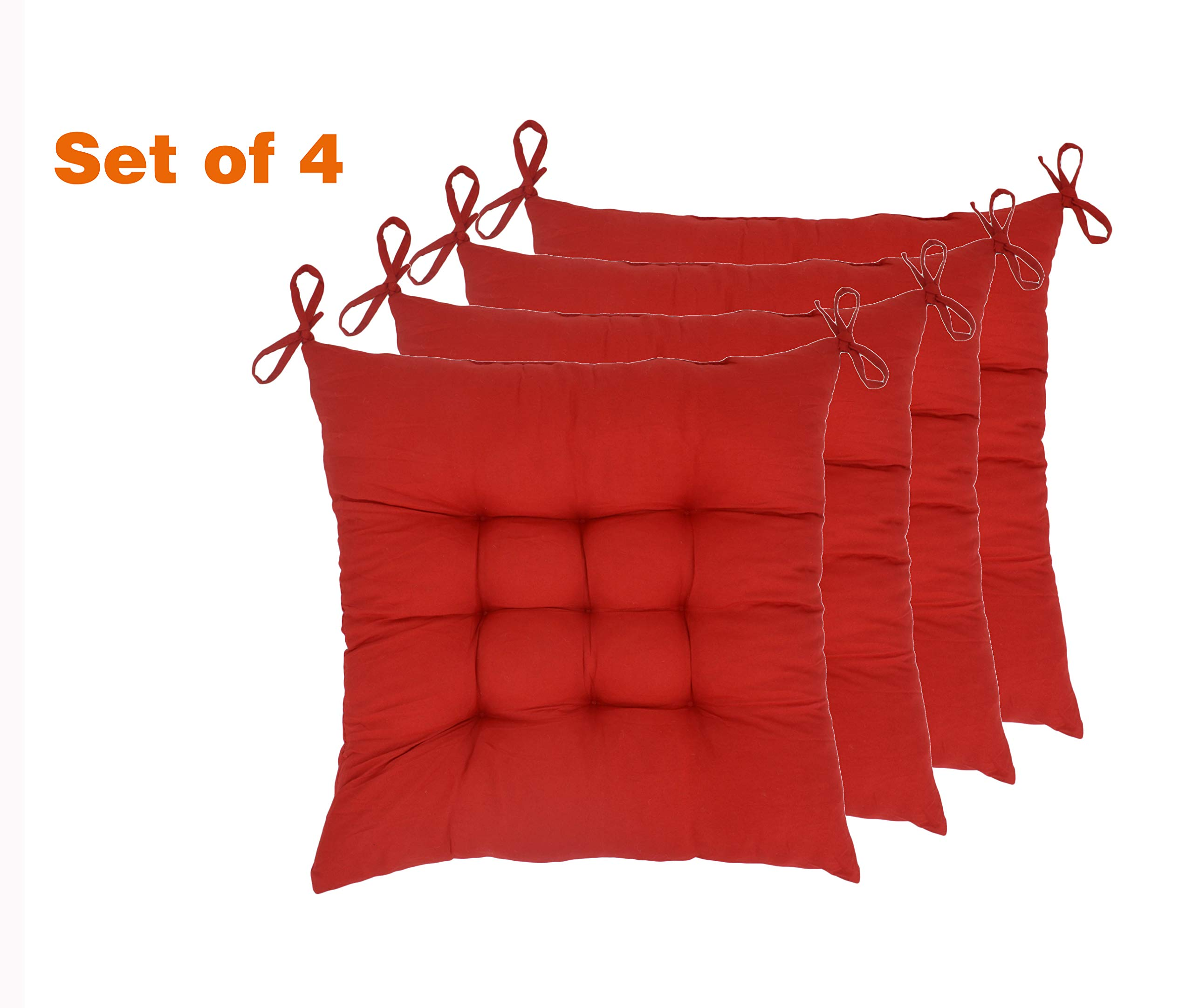 Elfjoy Solid Square Tufted Chair Pads Set of 4 Indoor/Outdoor Cushions Seats With Ties (Red) by Elfjoy