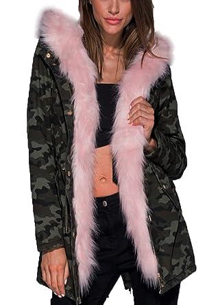 ba362b75915af Women's Camouflage Print Parka Jacket Pink Faux Fur Trim Ladies Warm Fleece Jacket  Coat (14