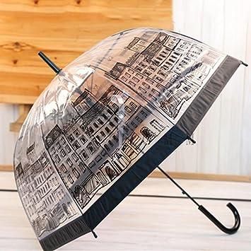 omiyo Inglaterra estilo seta transparente paraguas forma de media cúpula de Auto mango largo lluvia paraguas