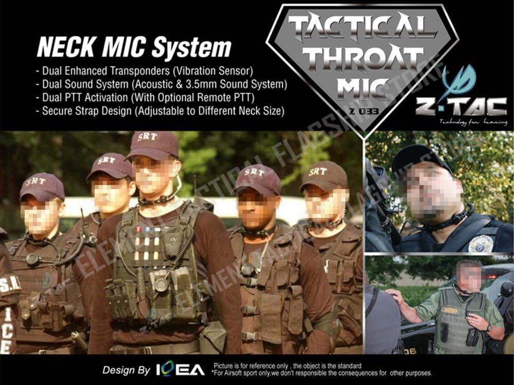 Z-TAC Tactical Throat Mic Military Airsoft Hunting Headset /& Tube Earphone Set