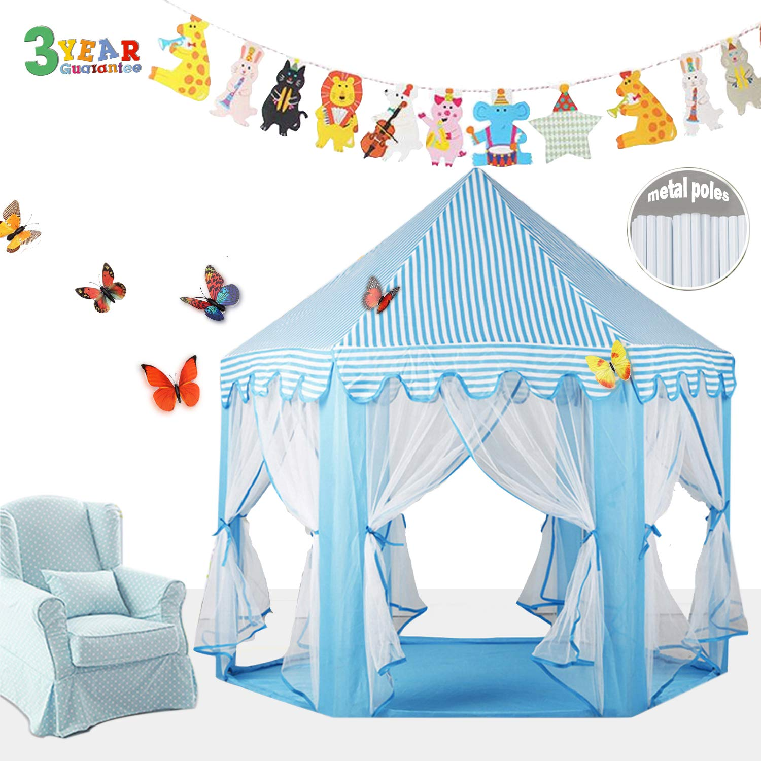 EZGOshop Princess Tent Metal Frame with Star Lights Hexagon Kids Play Tent Princess Castle Indoor Outdoor Playhouse with Banners décor and Gift Not PVC 135 x 140cm (blue)