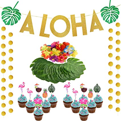 SAKOLLA Hawaiian Tropical Luau Party Supplies,Gold Glittery ALOHA Party Banners with Circle Dots Garland//Flamingo Cupcake Topper//Palm Leaves for Flamingo Party Decorations