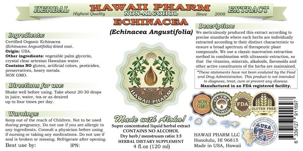 Echinacea Alcohol-FREE Liquid Extract, Echinacea Echinacea Angustifolia Dried Root Glycerite Hawaii Pharm Natural Herbal Supplement 64 oz