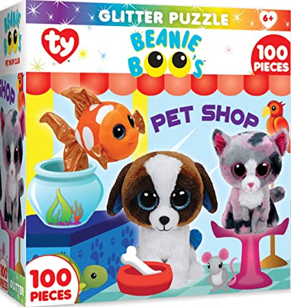 Image Unavailable. Image not available for. Color  MasterPieces Ty Beanie  Boo Petshop Club - 100 Piece Glitter Kids Puzzle f38322b8f6cf