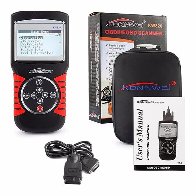 konnwei KW820 OBDII EOBD Automotive errores lector de código escáner herramienta de análisis de diagnóstico OBD2 Universal Auto OBD 2 Scaner PK VS890: ...