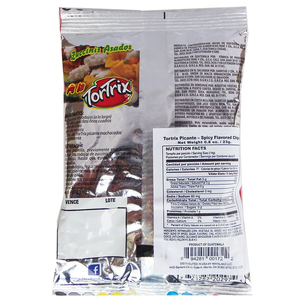 Amazon.com : Tortrix Spicy 0.88 oz (Pack of 12) - Picante (Pack of 6) : Grocery & Gourmet Food