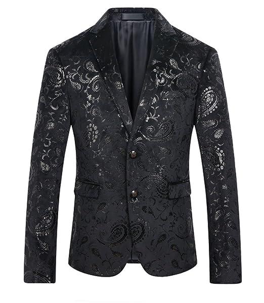 MOGU Chaqueta de hombre Blazer en negro con estampado floral brillante: Amazon.es: Ropa y accesorios