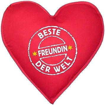 Herzkissen Mit Innenkissen   Stempel: Beste Freundin Der Welt   Zum  Valentinstag   Geschenk Freundinnen