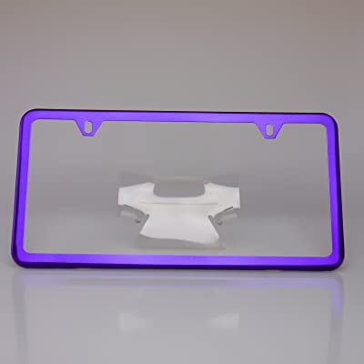 Circle Cool Purple Chrome Powder Coated Stainless Steel License Plate Slim Two Hole Frame Holder Bracket: Automotive