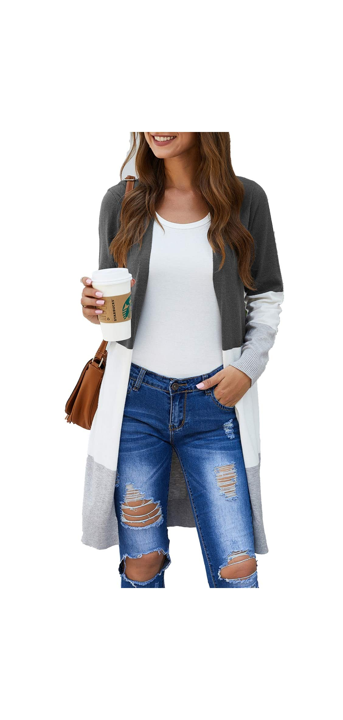 Women Boho Open Front Cardigan Colorblock Long Sleeve