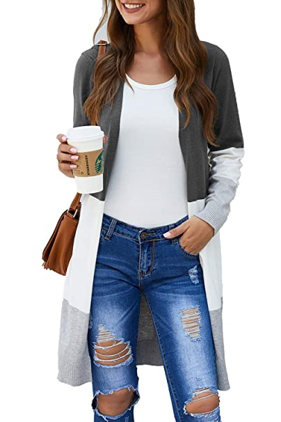 BLUETIME Women Boho Open Front Cardigan Colorblock Long Sleeve Casual Loose Knit Lightweight Sweaters