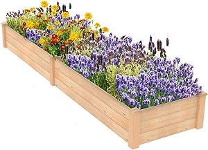 ECOgardener Raised Bed Planter, 2'x8'. Outdoor Wooden Raised Garden Bed Kit for Vegetables, Fruit, Herbs, Flowers and Plants.