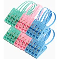 Hapy Shop24 Pcs Clothes Peg Clip Pins Clothes Hangers Clothes Pegs,Multicolor Rope Hanging Clothesline Windproof Hanger PP Plastic Clips Hooks Peg for Sock and Clothes