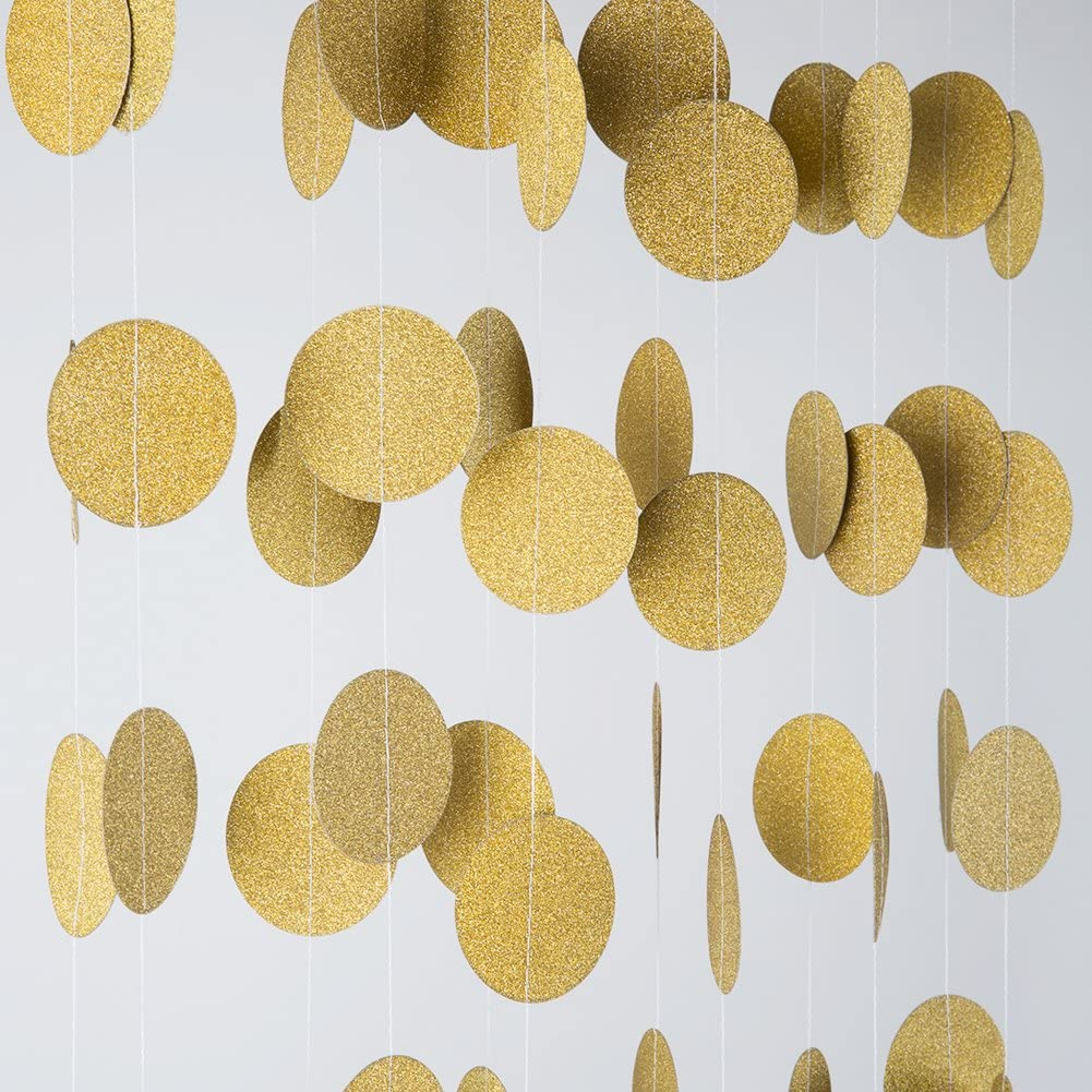 MOWO Glitter Paper Garland Circle Dots Hanging Decor,2'' in Diameter,9.8-feet(gold glitter,2pc)