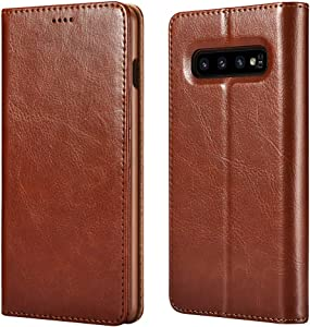 icarercase Samsung S10 Plus Case (2019), Galaxy S10 Plus Wallet case Premium PU Leather Folio Flip Cover with Kickstand and Credit Slots for Samsung Galaxy S10+ 6.4 inch(Brown)