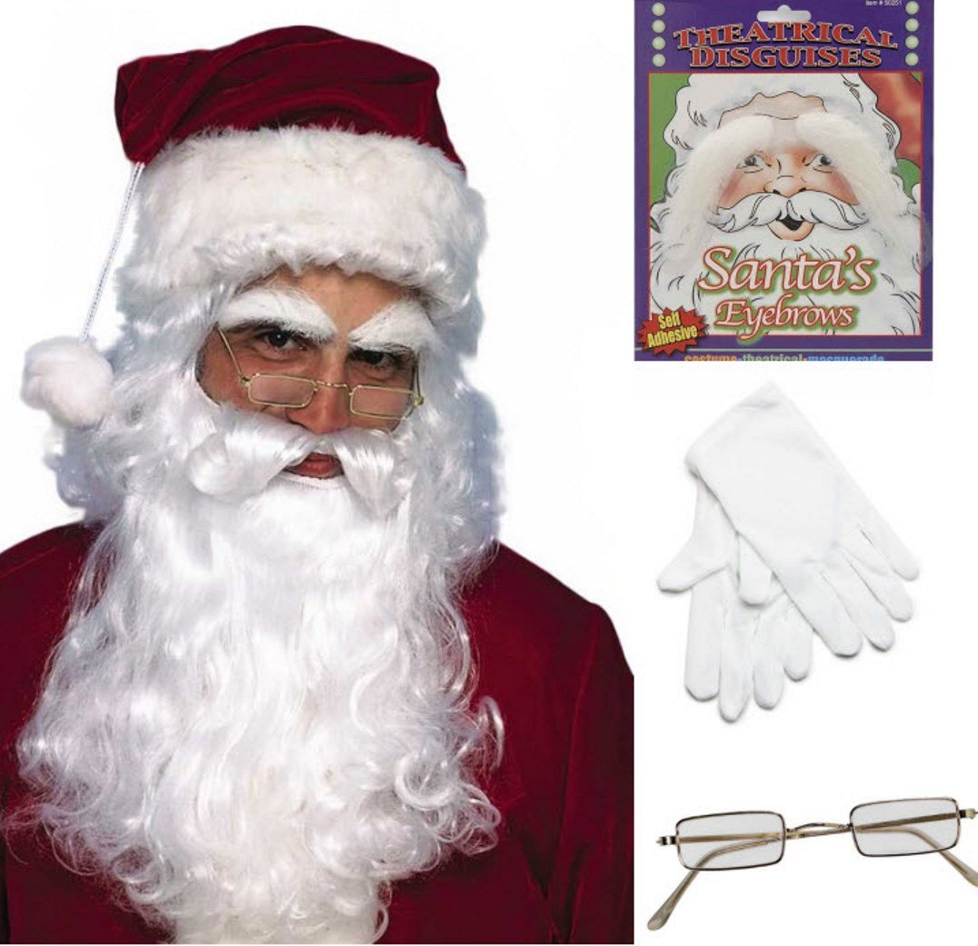 BirthdayExpress Santa Costume – Red Plush Deluxe Complete 10 Piece Kit - Santa Suit Outfit by BirthdayExpress