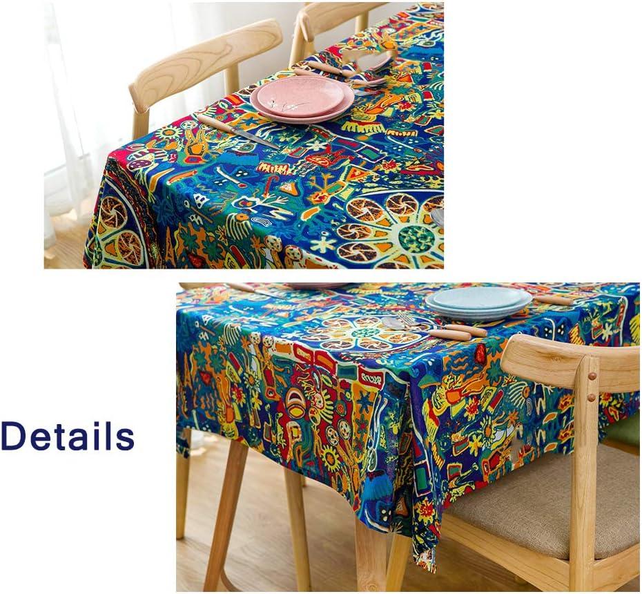 JRMU Cl/ásico Decoraci/ón De Los Nativos Americanos Manteles Delgada Comedor Cocina Cuadrado Mantel para Mesa Antimanchas Antiarrugas-a 90x90cm 35x35in