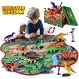GILOBABY 恐竜おもちゃ 恐竜フィギュア 2IN1恐竜 おもちゃ マット 収納ボックス 恐竜遊び リアルな恐竜おもちゃ 樹木 ロック 創造できる恐竜公園 女の子 男の子 おもちゃ 知育玩具 子供の誕生日ギフト 祝いプレゼント 保育園教具