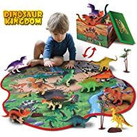 GILOBABY 2 in 1 Dinosaur Toy Storage Box & Activity Playmat with 10 Dinosaurs, 2 Trees and 2 Rocks, Pretend Play Gifts…