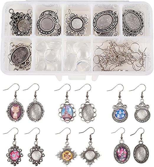 Antique Silver SUNNYCLUE 1 Box DIY 12 Pairs Oval Round Cabochon Earrings Making Starter Kits Dangle Tray Earring Settings 12mm 13x18mm Clear Glass Dome Cabochons Earring Wire Hooks