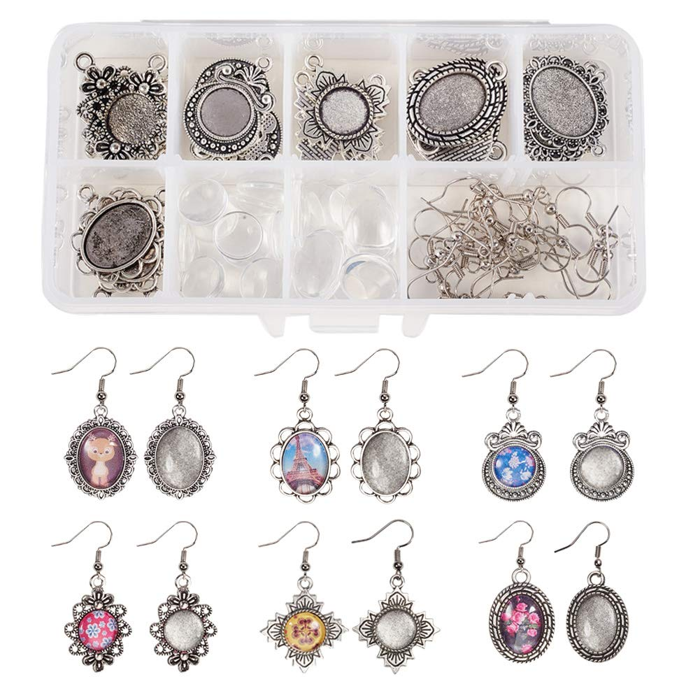 SUNNYCLUE 1 Box DIY 12 Pairs Oval Round Cabochon Earrings Making Starter Kits Dangle Tray Earring Settings, 12mm 13x18mm Clear Glass Dome Cabochons, Earring Wire Hooks, Antique Silver by SUNNYCLUE