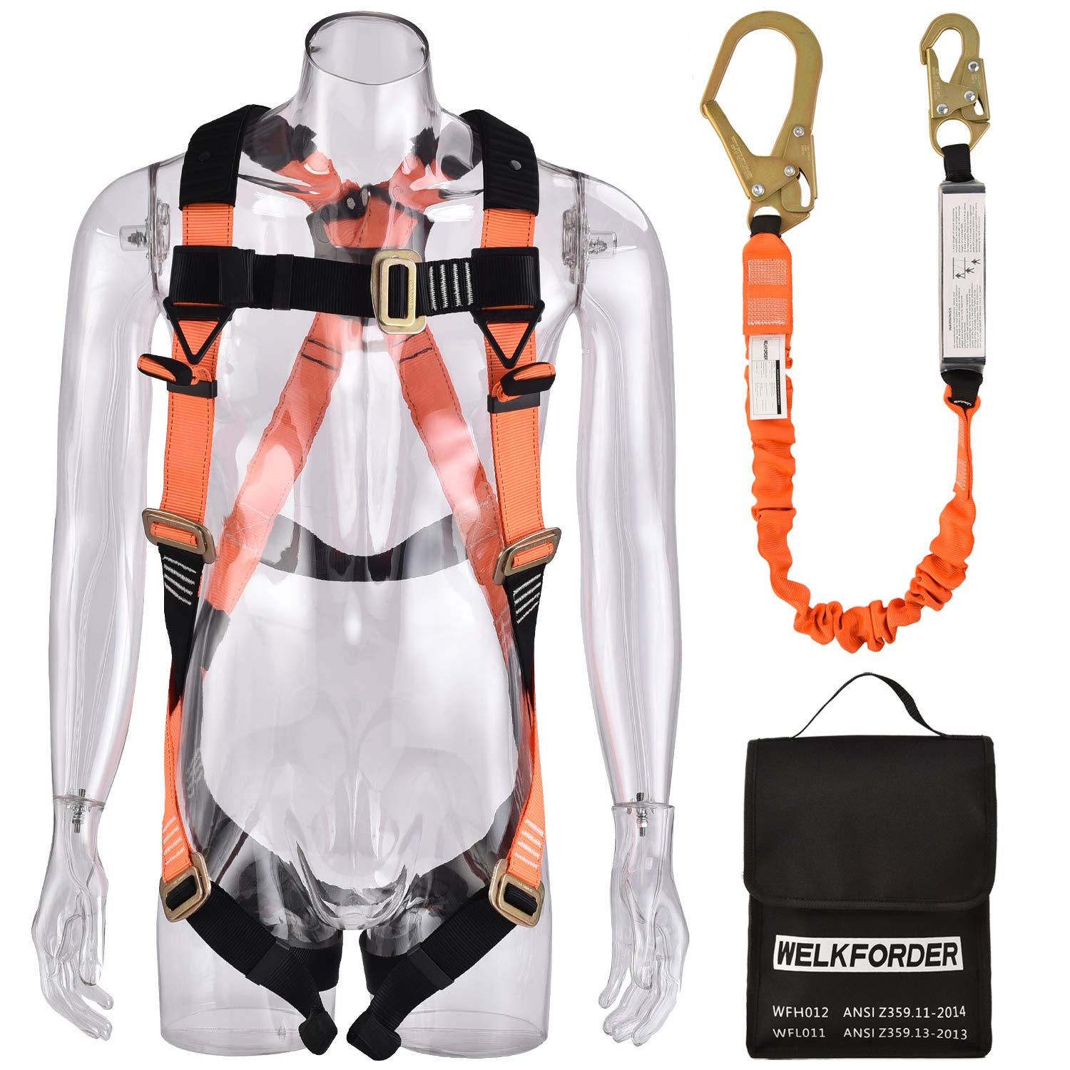 WELKFORDER 1 D-Ring Industrial Fall Protection Safety Harness Kit with  Single Leg 6-Foot Shock Absorber Stretch Lanyard ANSI Complaint Personal  Fall