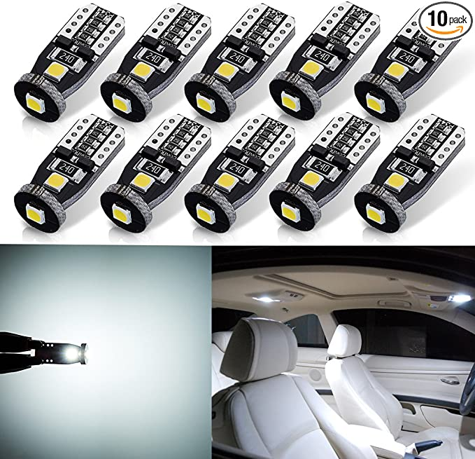 Red 10PCS XSPEED LIGHTING 194 LED Light Bulb Error Free 800lm Extremely Bright 20-SMD 4014-Chips 168 2825 W5W T10 LED Bulbs For Car Interior Map Dome Side Marker Lights License Plate Light