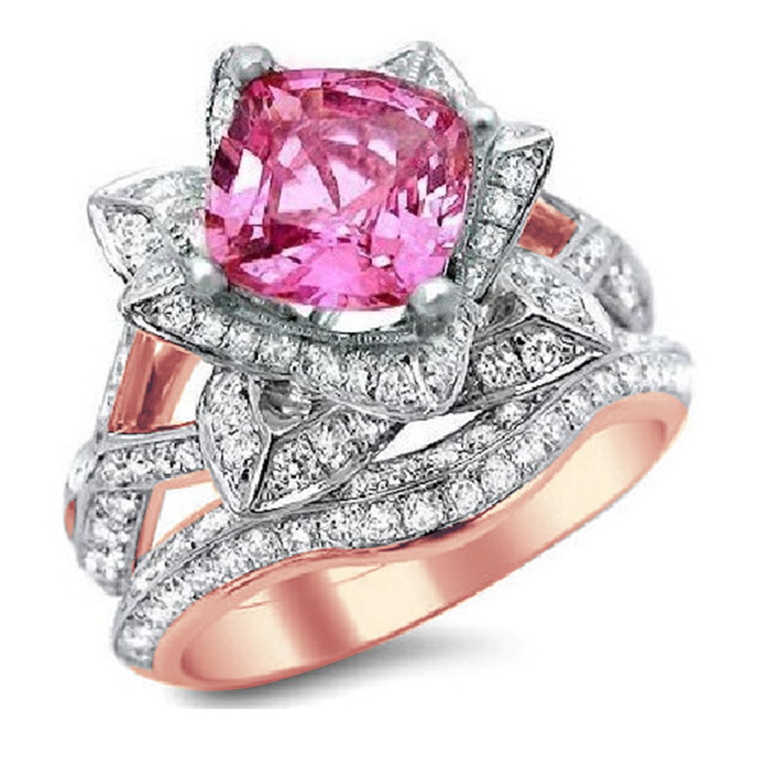 Smjewels 2.75Ct Cushion Cut Sapphire Lotus Flower CZ Diamond Ring Bridal Set 14K Rose Gold Fn